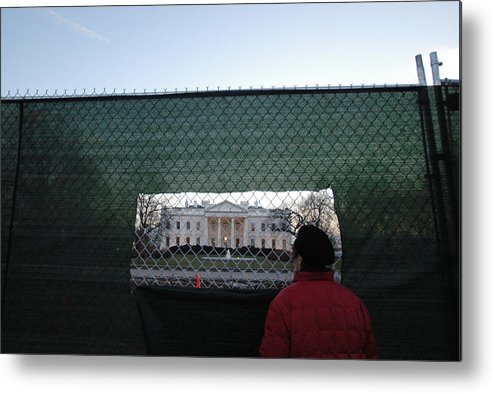 Washington Dc Metal Print featuring the photograph White House Fence Washington Dc by Thomas Michael Corcoran