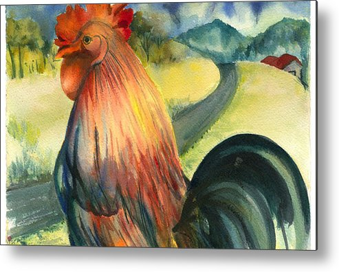 Beatiful Colos Metal Print featuring the painting Why Did The Rooster Cross The Road by Ileana Carreno