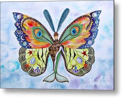 Butterfly Metal Print featuring the painting Winged Metamorphosis by Lucy Arnold