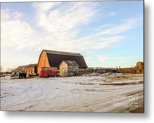 Winter Metal Print featuring the photograph Winter Farm by Viktor Birkus