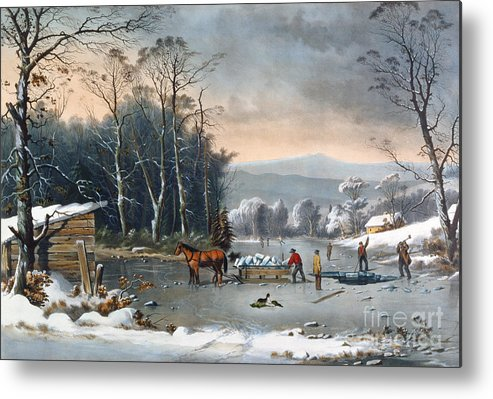 Winter In The Country Metal Print featuring the painting Winter In The Country by Currier and Ives