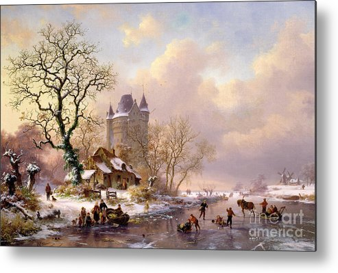 Winter Metal Print featuring the painting Winter Landscape With Castle by Frederick Marianus Kruseman