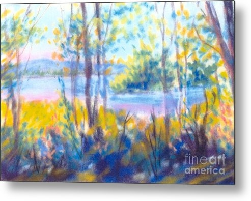 Water Metal Print featuring the painting Yellow Flowers by Sandy Sereno