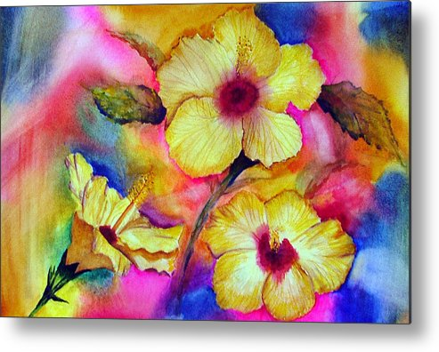 Yellow Metal Print featuring the painting Yellow Hibiscus by Tina Storey