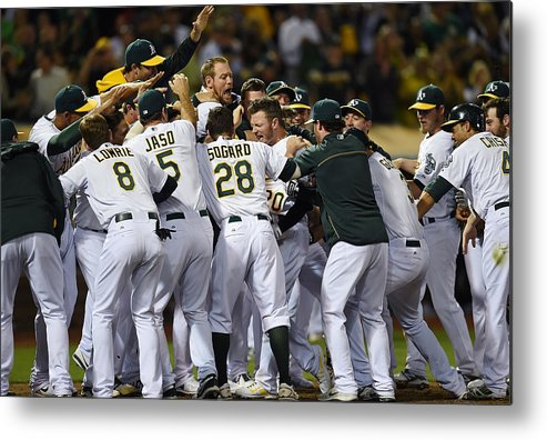 American League Baseball Metal Print featuring the photograph Detroit Tigers V Oakland Athletics 5 by Thearon W. Henderson