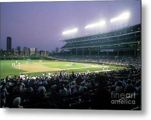 1980-1989 Metal Print featuring the photograph Philadelphia Phillies V Chicago Cubs by Jonathan Daniel