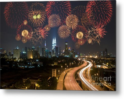 Color Metal Print featuring the photograph Kuala Lumpur Night View During by Wong Yu Liang