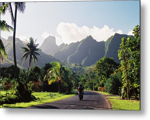 Shadow Metal Print featuring the photograph Motorcyclist On Polynesian Road by Ejs9