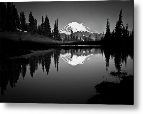 Scenics Metal Print featuring the photograph Reflection Of Mount Rainer In Calm Lake by Bill Hinton Photography