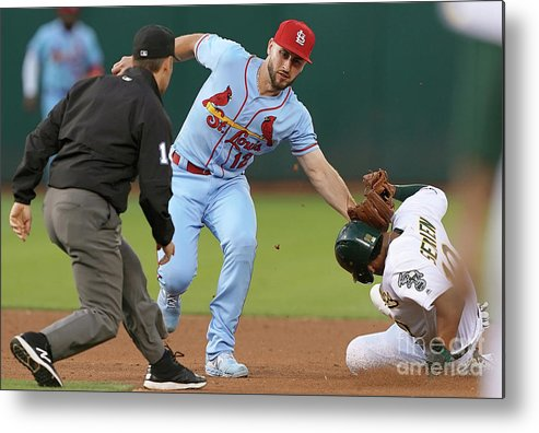 St. Louis Cardinals Metal Print featuring the photograph St Louis Cardinals V Oakland Athletics by Thearon W. Henderson
