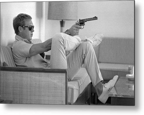 Timeincown Metal Print featuring the photograph Steve Mcqueen Takes Aim by John Dominis