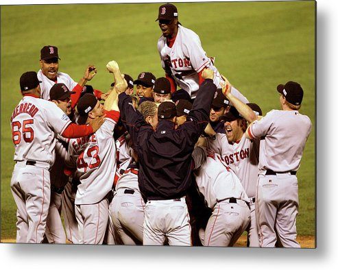 Celebration Metal Print featuring the photograph World Series Red Sox V Cardinals Game 4 by Stephen Dunn