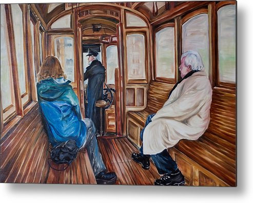 Tram Metal Print featuring the painting The Tram by Jennifer Lycke