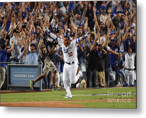 Game Two Metal Print featuring the photograph Justin Turner by Kevork Djansezian