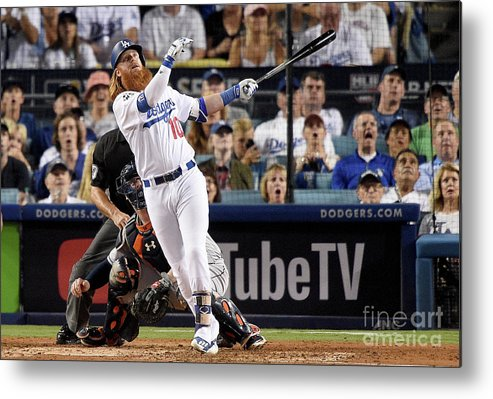 People Metal Print featuring the photograph Justin Turner by Kevork Djansezian