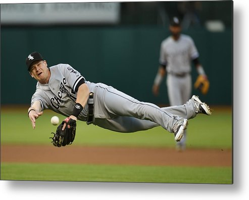 American League Baseball Metal Print featuring the photograph Craig Gentry And Gordon Beckham by Thearon W. Henderson