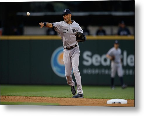 Playoffs Metal Print featuring the photograph Derek Jeter And Brad Miller by Otto Greule Jr