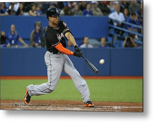 People Metal Print featuring the photograph Giancarlo Stanton by Tom Szczerbowski