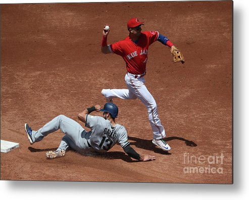 Double Play Metal Print featuring the photograph Joey Gallo And Troy Tulowitzki by Tom Szczerbowski