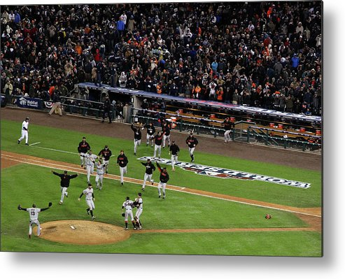 American League Baseball Metal Print featuring the photograph Miguel Cabrera And Sergio Romo by Christian Petersen