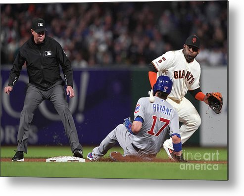 San Francisco Metal Print featuring the photograph Pablo Sandoval And Kris Bryant by Thearon W. Henderson
