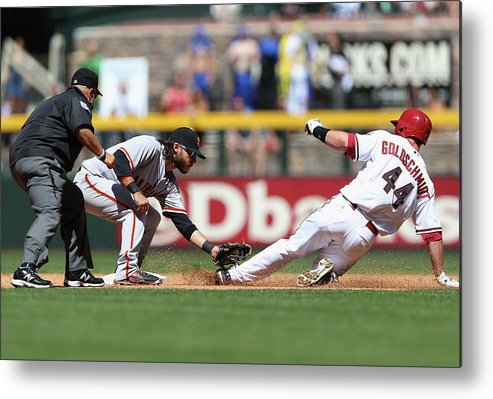 2nd Base Metal Print featuring the photograph Paul Goldschmidt And Brandon Crawford by Christian Petersen