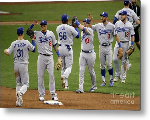 Game Two Metal Print featuring the photograph Yasiel Puig And Justin Turner by Dylan Buell