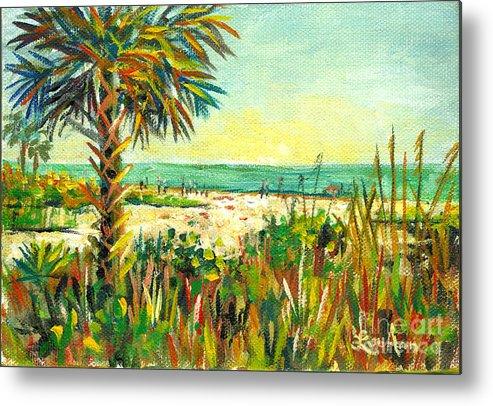 Crescent Beach Metal Print featuring the painting Crescent Beach Palm by Lou Ann Bagnall