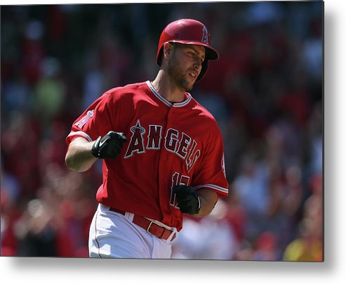 Fist Metal Print featuring the photograph Kansas City Royals V Los Angeles Angels 1 by Jeff Gross