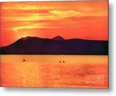 Balaton Metal Print featuring the painting Sunset In The Balaton Lake by Odon Czintos
