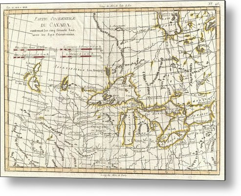 Metal Print featuring the photograph 1775 Bonne Map Of The Great Lakes And Upper Mississippi by Paul Fearn
