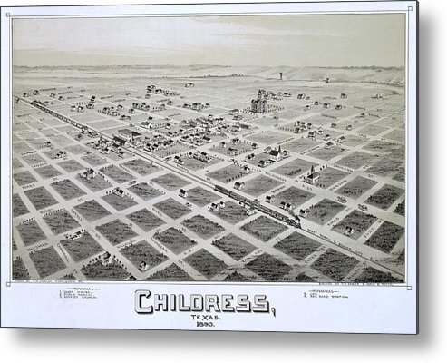 Map Metal Print featuring the photograph 1890 Vintage Map Of Childress Texas by Stephen Stookey