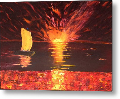 Sunset Metal Print featuring the painting Sailing Into The Sunset by Henry Parker