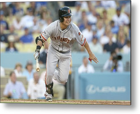 People Metal Print featuring the photograph San Francisco Giants V Los Angeles by Stephen Dunn