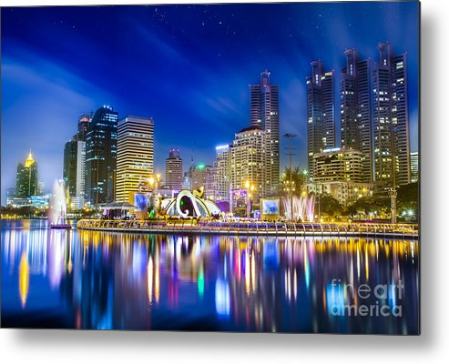Architecture Metal Print featuring the photograph City Town At Night by Anek Suwannaphoom