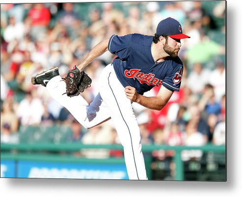 American League Baseball Metal Print featuring the photograph Boston Red Sox V Cleveland Indians by David Maxwell