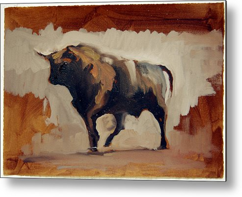 Brown Metal Print featuring the painting Toro Study by Zil Hoque