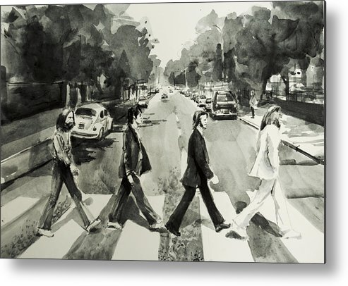 The Beatles Metal Print featuring the painting Abbey Road by Bekim M