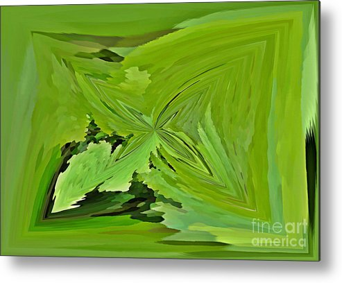 Abstract Metal Print featuring the mixed media Abstract - Rectangle - Linear Verte by Donna E Pickelsimer