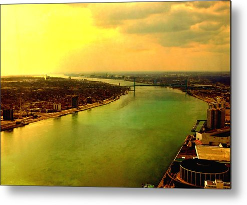 Abstract Metal Print featuring the photograph Angels Over Detroit by David Gilbert