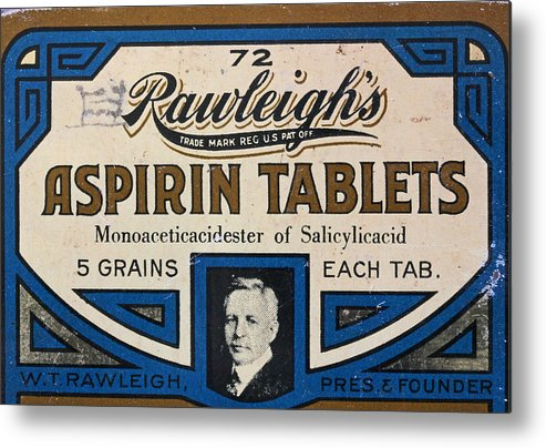 Antique Tin Metal Print featuring the photograph Aspirin 5 Grains by Mary Bedy