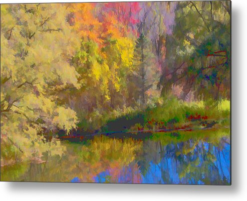 Autumn Metal Print featuring the photograph Autumn Beside The Pond by Don Schwartz