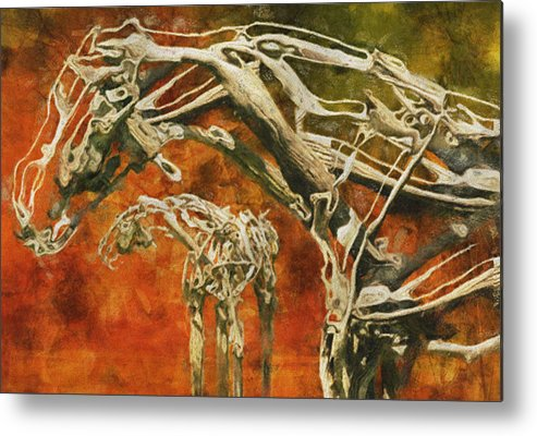 Digital Metal Print featuring the painting Aware by Jack Zulli