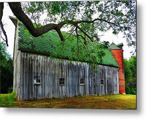 Old Barns Metal Print featuring the photograph Barn With Brick Silo by Julie Dant