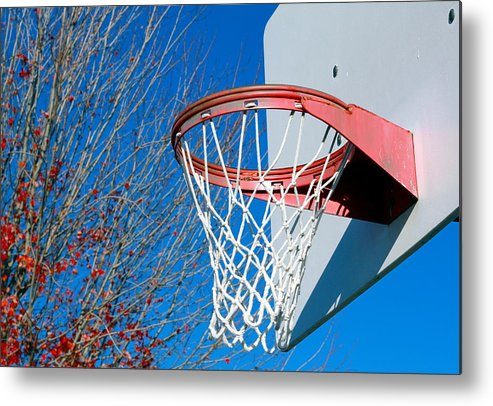 Net Metal Print featuring the photograph Basketball Net by Valentino Visentini