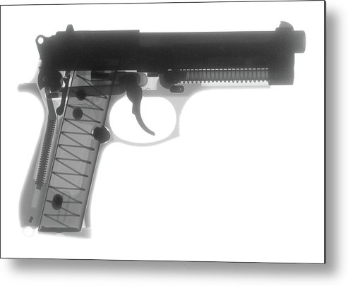 Gun Collectible Metal Print featuring the photograph Beretta 9mm X-ray Photograph by Ray Gunz