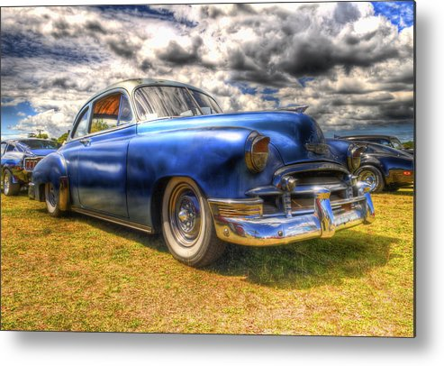 Fifties Automobile Metal Print featuring the photograph Blue Chevy Deluxe - Hdr by Phil 'motography' Clark