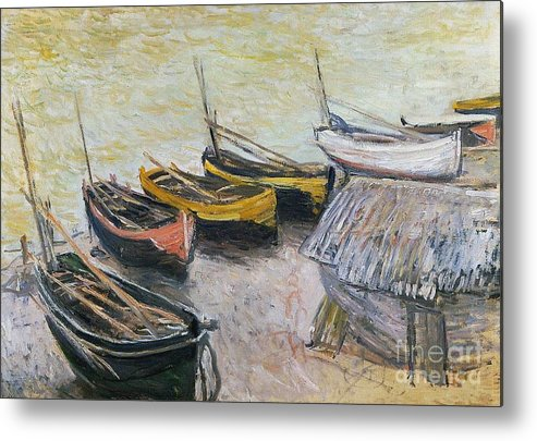 Boats On The Beach Metal Print featuring the painting Boats On The Beach by Claude Monet