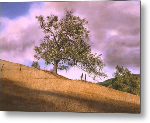 Landscape Metal Print featuring the painting By The Big Oak by Tom Wooldridge