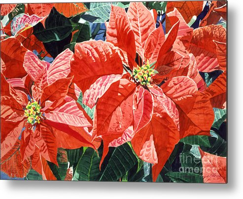 Christmas Metal Print featuring the painting Christmas Poinsettia Magic by David Lloyd Glover